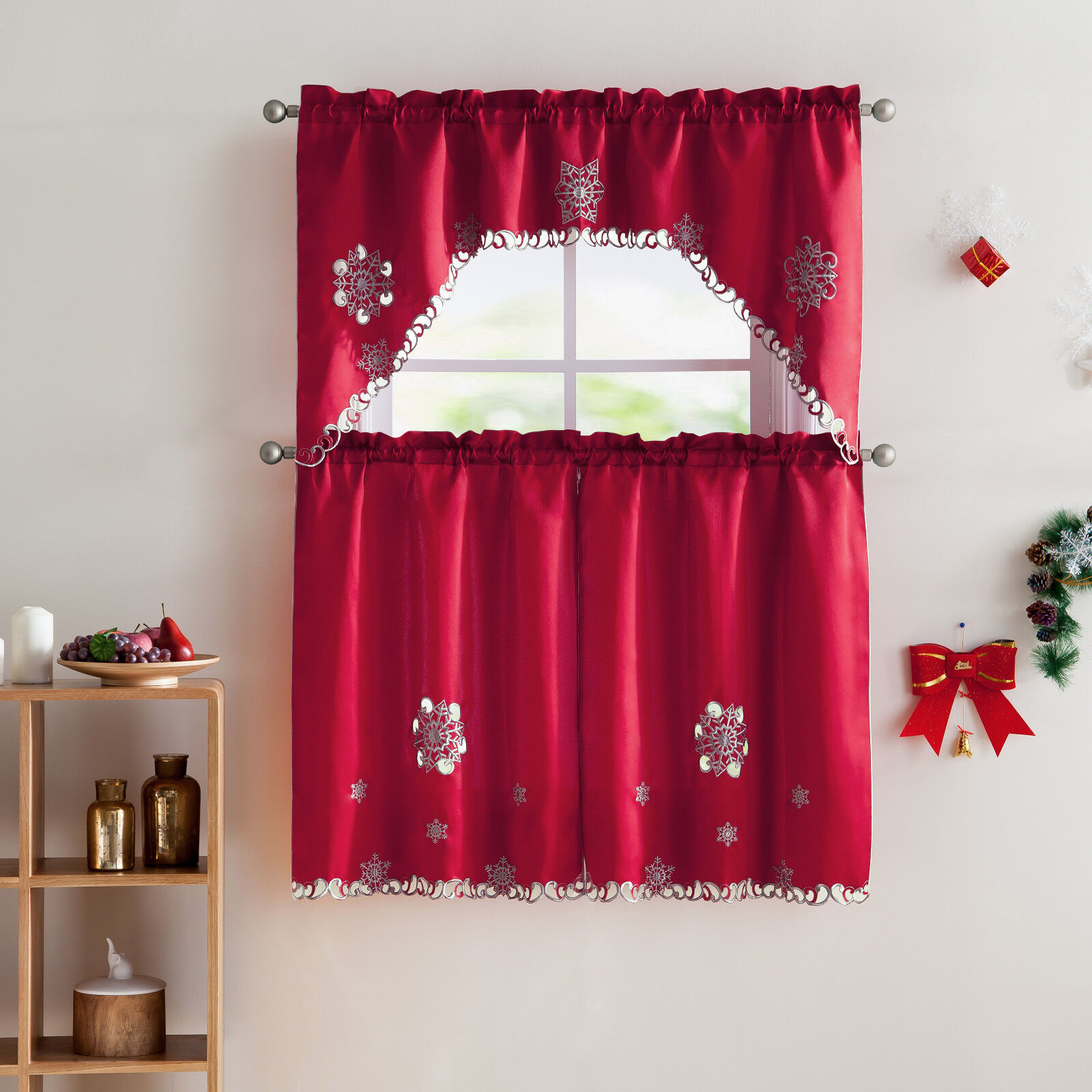 vcny home christmas embroidered kitchen curtain set - assorted colors | ebay