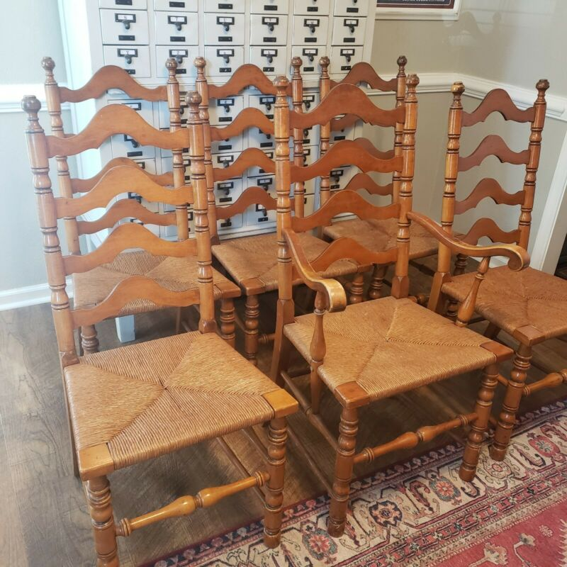 Set of 6 Rush Bottom Vintage Ladder Back Dining Chairs Farmhouse WILL SHIP