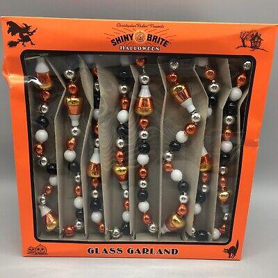 RADKO Shiny Brite GLASS GARLAND 7ft Candy Corn Halloween Black Orange White NEW