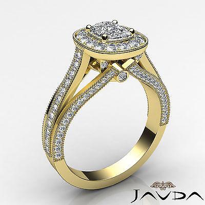Cushion Diamond Halo Engagement GIA F VVS2 18k Yellow Gold Milgrain Ring 1.61Ct 1