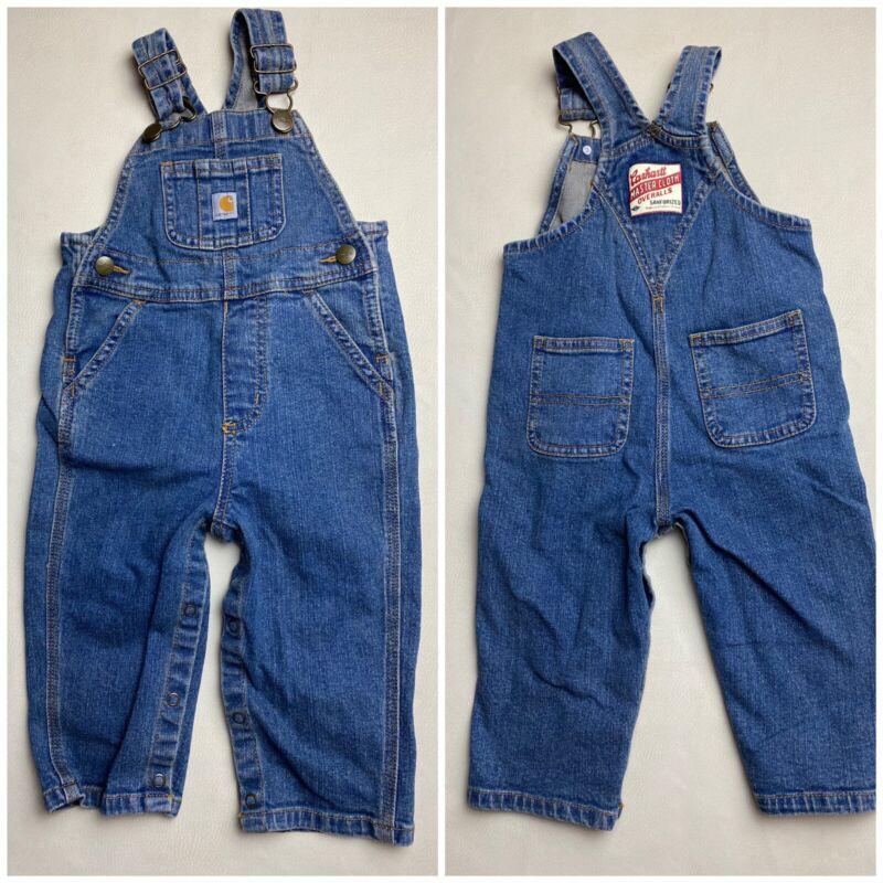 CARHARTT Infant Boy 12m Bib Overall Blue Denim Jeans Baby Snap Leg Sz 12 months