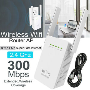 Wireless 300Mbps 802.11 AP Wifi Range Repeater Router Booster UK Plug 2 Antennas