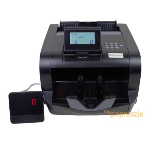 Black Bill Counter LCD Money Counting Cash Machine Counterfeit Detector UV / MG