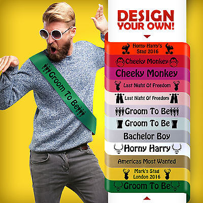 Bachelor Party Accessories (Stag Night Sash Party Stag Do Groom Bachelor Party Accessories STAG BLUE)