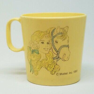 Vintage Barbie Tea Party Set Mini Plastic Cup Mug Mattel 1983 Horse Faded Yellow