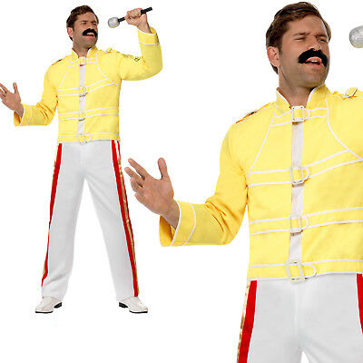 Queen Freddie Mercury Costume 80s Rock Legend Adult Mens Fancy Dress Outfit