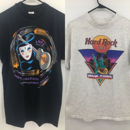 Lot of 2 Hard Rock Cafe T-Shirts Large New York New Orleans Twin Towers