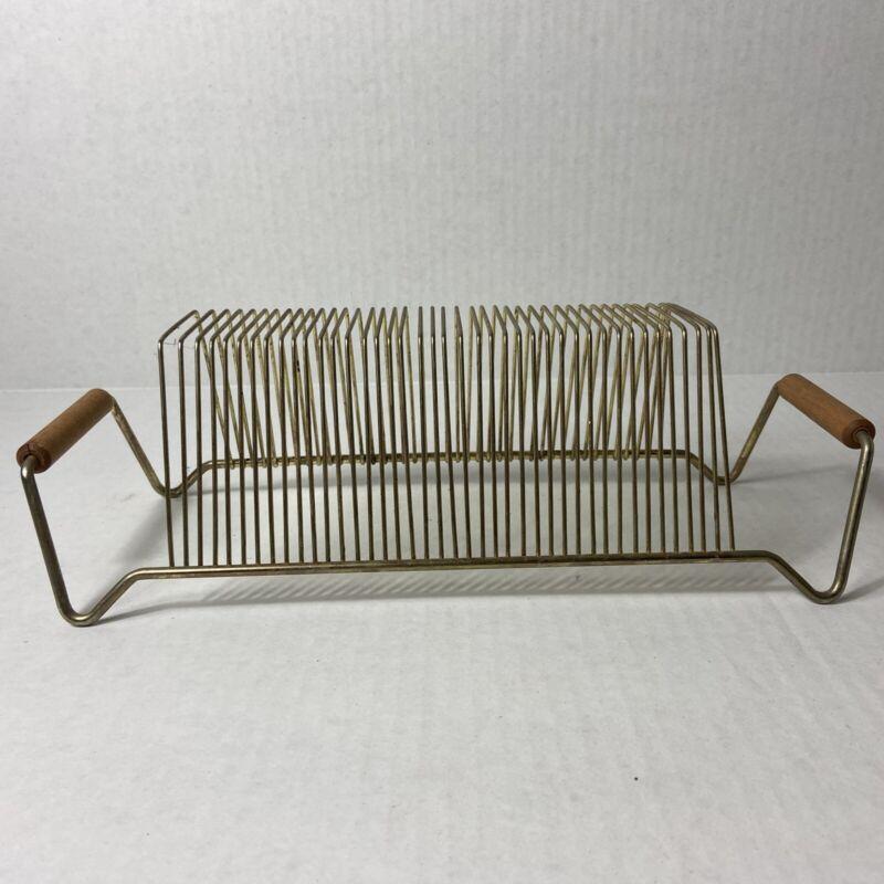 Vintage 40-Slot 33/45 Record Holder Rack Gold Tone Metal Wire Wood Handles