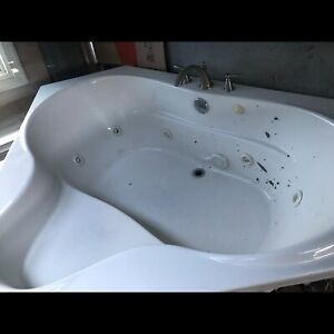 Jetted corner tub with motor