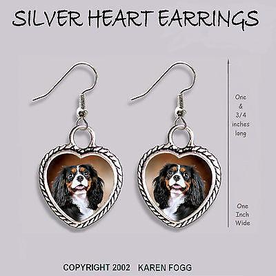 Tri Cavalier King Charles Spaniel - CAVALIER KING CHARLES SPANIEL Tri Color -  HEART EARRINGS Ornate Tibetan Silver