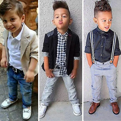 Kids Baby Boys Shirts Blazer Coat Pants Trousers Gentleman Outfits Clothes Sets - Boys Kids Outfit