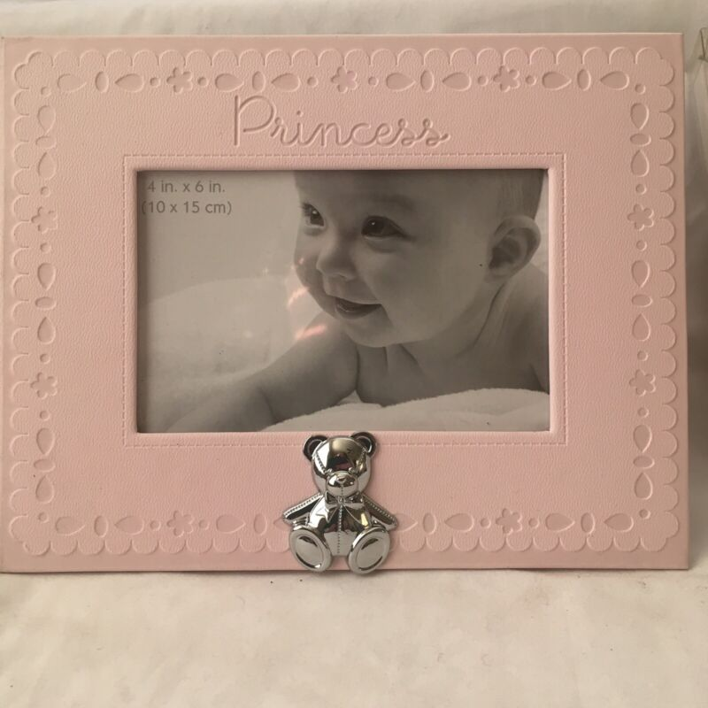 First Impressions Pink Baby Girls Princess Silver Teddy Bear Picture Frame NEW