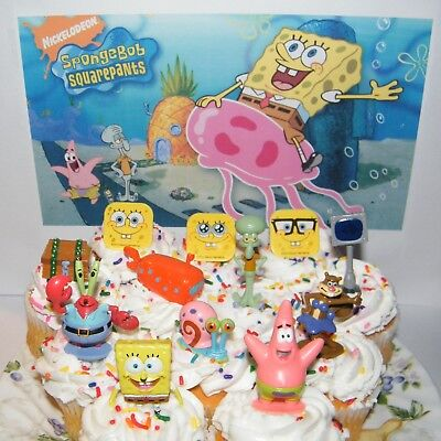 SpongeBob Cake Toppers Party Decorations Set of 12 with Fun Figures and - Spongebob Birthday Cakes
