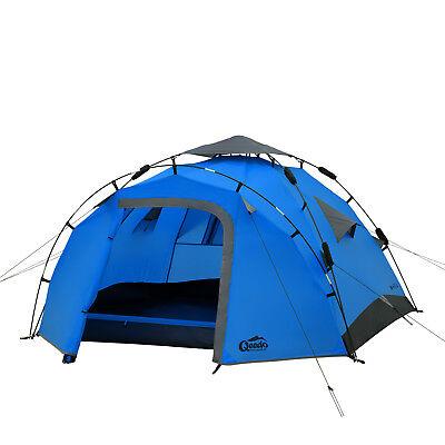 Sekundenzelt QEEDO Quick Pine 3 Personen Zelt Campingzelt Pop Up Zelt blau