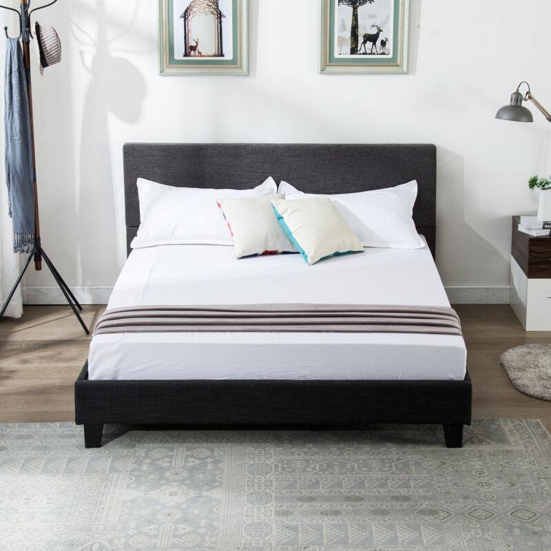 Queen Size Bedroom Bed Frame Platform Upholstered Linen Headboard w/ Wood Slats