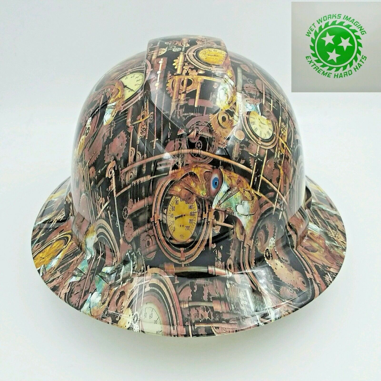 FULL BRIM Hard Hat custom hydro dipped , STEAM PUNK ,ENGINEERING CAMO