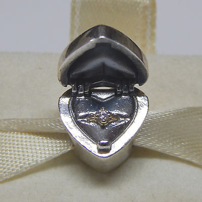 Pandora Charm Sterling Silver   14Kt Gift From The Heart 791247Cz Box Included