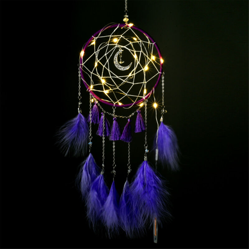 LED Light Dream Catcher Feathers Handmade Bedroom Wall Hanging Decor Ornaments