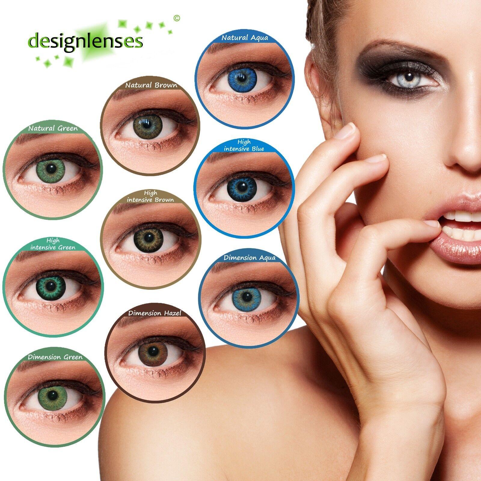 Farbige natürliche Kontaktlinsen blau grün mit oder ohne Stärke Big Eye Effekt
