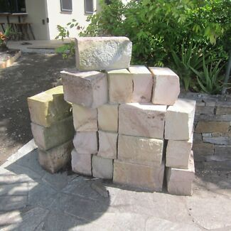 Sandstone garden edging blocks