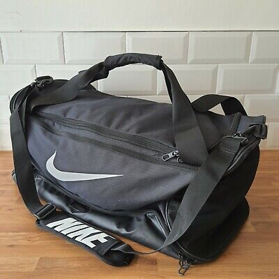 NIKE Grey Black Holdall Duffel Sports Kit Gym Football Weekend Bag