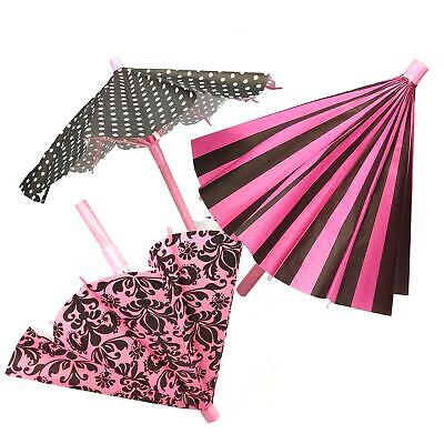 Girls Pink 28 cm Paper French Paris Parasol Umbrella Table Birthday Party Decor ()