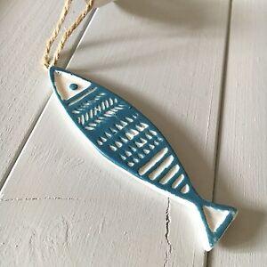 Ceramic fish hanger.  Nautical coastal chic. Shoeless joe