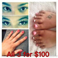 Full set of eyelash extensions/full manicure/pedicure for $100