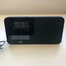 BRAUN BNC010BK-SRC AM/FM Black Digital Quartz Radio Controlled Alarm Clock