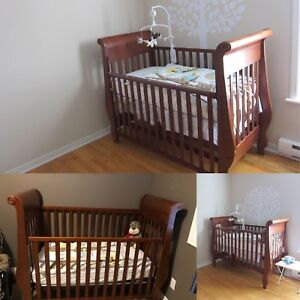 Crib with mattress, changing table, etc.