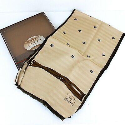 GUCCI Accessory Collection Vintage Silk Scarf Foulard Beige Brown 145x20cm w/Box