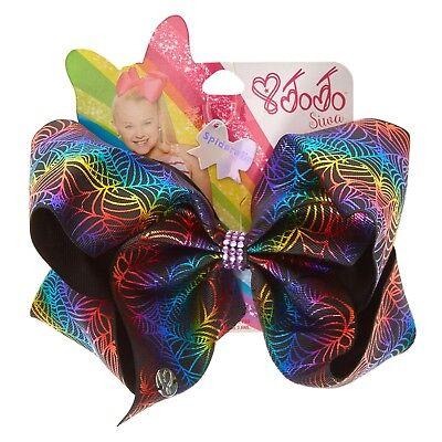 JoJo Siwa Halloween Spider Web Metallic Rainbow Dance School Cheer Hair Bow - Halloween Cheer Bows