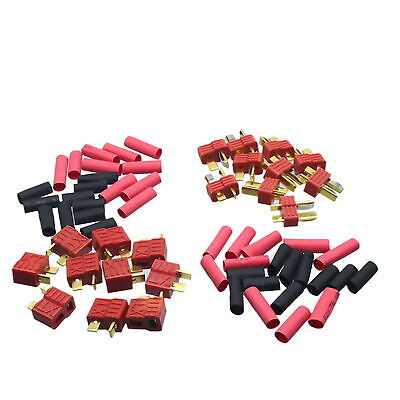 10 Pairs T-Plug Nylon Deans Connectors With Grips Gold Plated With Heat Shrink