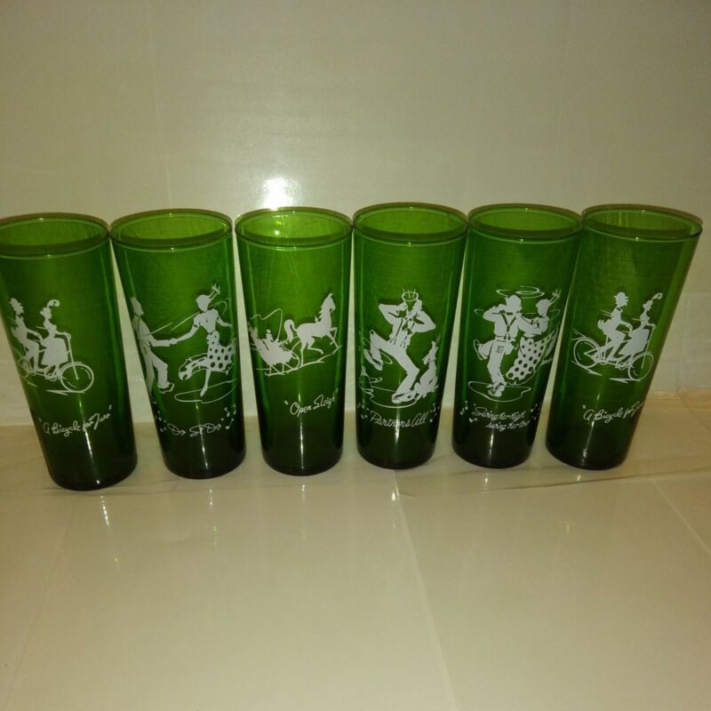 6 Anchor Hocking Forrest Greeb Tumblers  Depression Glass. Variety Pack 4 Styles