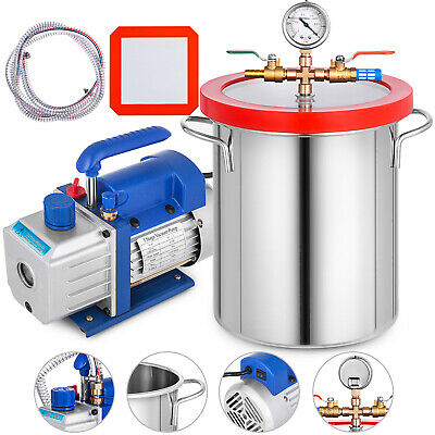 Vacuum Chamber 2 Gallon Silicone Expoxy Degassing With 4cfm Vacuum Pump 13hp