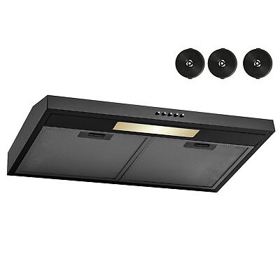 "30"" Under Cabinet Black Stainless Steel Push Control Kitchen Range Hood Filter"