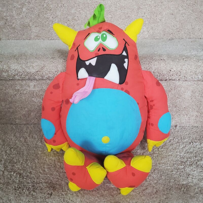 """Red Gross Out DOODLE MONSTER 16"""" plush Write On and Wash Off Stuffed Toy"""
