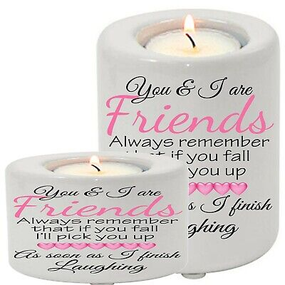 Ceramic Tea Light Candle Holder Best Friend Sisters Friends Funny Gift