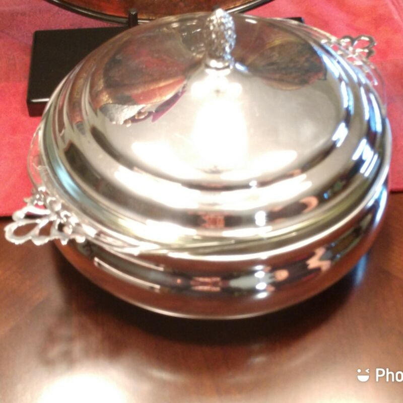 The Sheffield Silver Company Silverplate Covered Serving Dish With Pyrex Insert