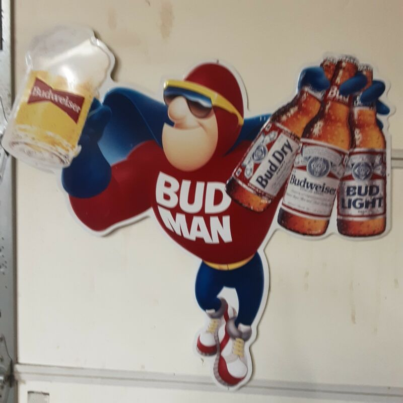 Bud Man The  Budweiser Budman Metal/tin Sign 32inches Wide