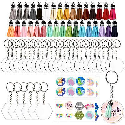 128Pc Acrylic Keychain Blanks with Tassels Kit Bulk Circle Disc for DIY Crafting