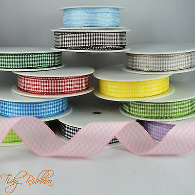 - Quality Cut Lengths Gingham Woven Edge Check Ribbon 10mm 25mm Crafts