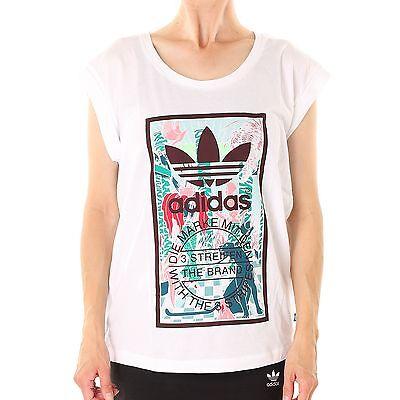 Baumwolle Rolled Sleeve Shirt (Adidas Rolled Sleeves T-Shirt Damen Shirt, Farbe weiß, 32013)