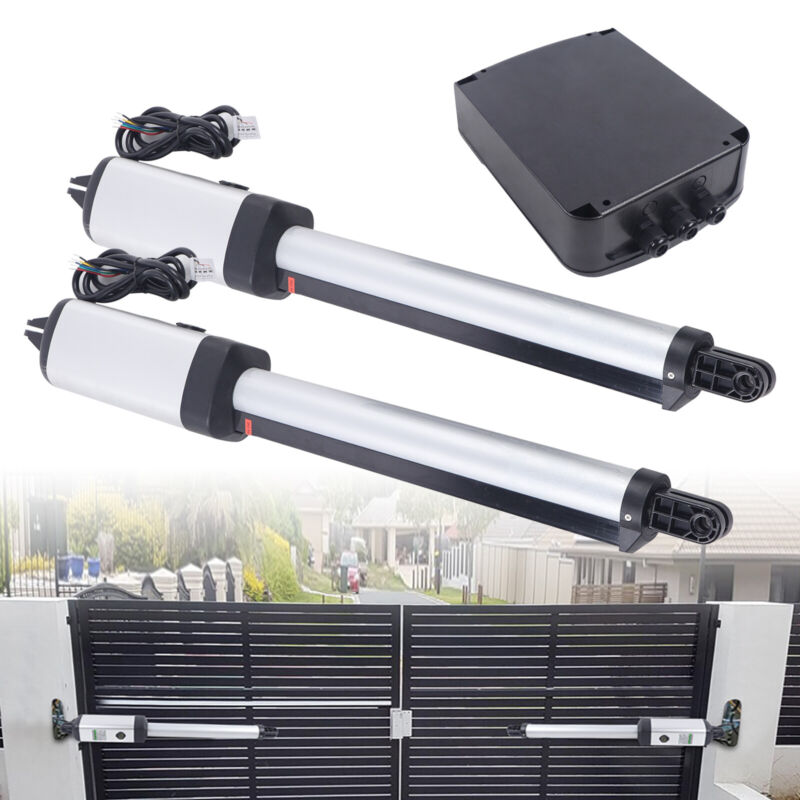 24V DC Automatic Gate Opener Dual Swing Gate Opener 700lbs Kit +2 remote control
