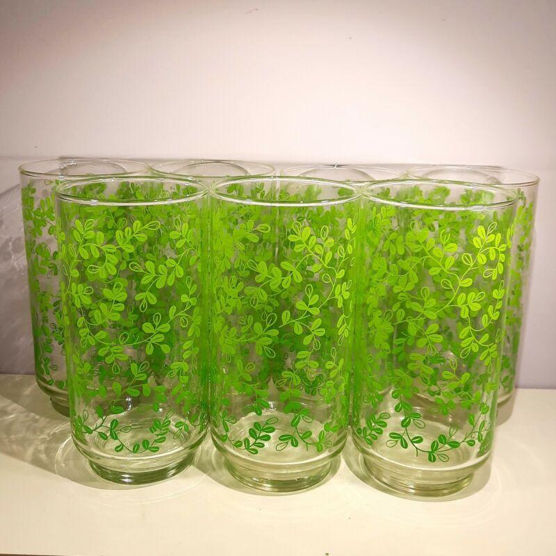 Vtg Libbey 16 oz Flat Tumbler Drinking Glasses Ombre Green Leaves Vines Set of 7