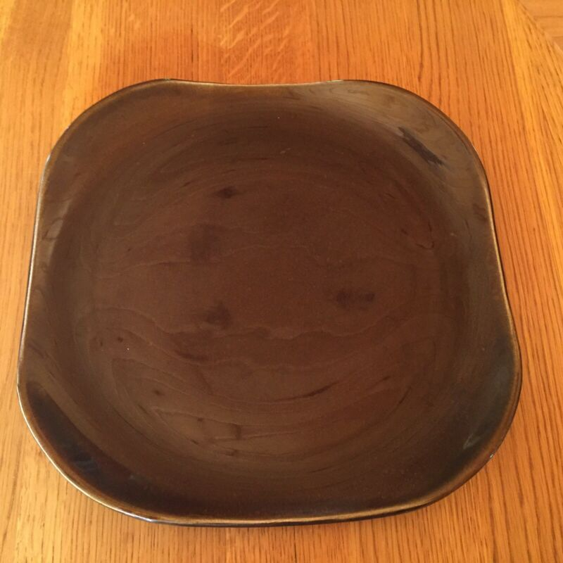 "Russel Wright American Modern Square Plate 14"" Platter Black Chutney"