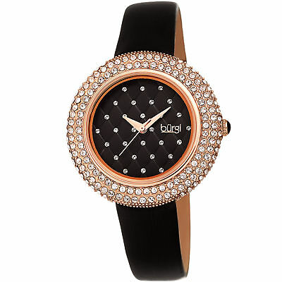 Women's Burgi BUR207 Swarovski Crystal Quilted Dial  Satin Leather Strap Watch