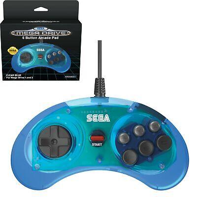 Mando Sega Megadrive azul transparente licenciado Sega Retro-bit