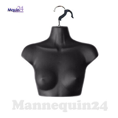 Black Mannequin Female Chest Torso Dress Form With Removal Hanger For Hanging