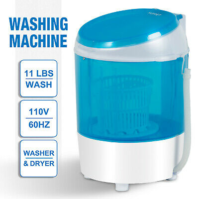 Mini Washing Machine Dryer Semi-Automatic Spinner Washer Portable Laundry Blue
